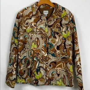 Chico's 100% cotton jacket Med.(12-14) multi color